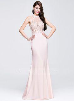 f198b03235  € 137.44  Sheath Column Scoop Neck Floor-Length Jersey Prom Dress With