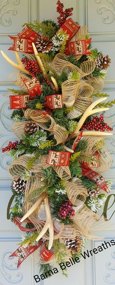 Rustic antler door swag Christmas Swags, Christmas Decorations, Holiday Decor, Grave Decorations, Door Swag, Winter Project, Antlers, Blankets, Centerpieces
