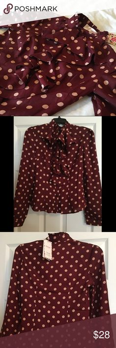 Burgundy & Pink Polkadot Ruffle Blouse BLINGOR Couture High Neck Ruffle Front Button up blouse. Burgundy with pink polkadots are feminine and perfect for fall! size small. NWT Blingor Tops Blouses