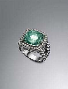 Women's Bracelets, Rings & Necklaces | Midnight Melange Collection | David Yurman Moonlight Ice Ring, Prasiolite, 14mm  $1,650.00