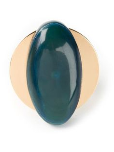 Blue cattle horn oval ring from Marni featuring gold-tone hardware.