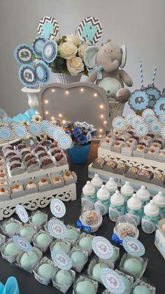 Detalhes. Chá de bebê azul e cinza. Baby shower blue and grey. #decoracionbabyshower