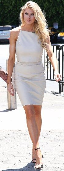 "Charlotte McKinney arrives to a taping of ""Extra"" on Monday in Los Angeles."