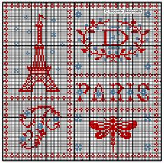 Cross Stitch of Paris Cross Stitch Freebies, Cross Stitch Samplers, Cross Stitch Charts, Cross Stitching, Cross Stitch Embroidery, Cross Stitch Patterns, Tour Eiffel, Needlepoint Patterns, Modern Cross Stitch