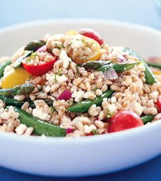 Perfect late spring salad when asparagus & fresh peas are at their best        Farro Salad with Peas, Asparagus, and Feta Photo  at Epicurious.com