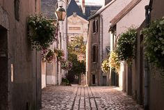 Beaugency ville fleurie, in early evening light.