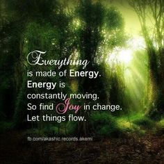 """""""Everything is made of energy. Energy is constantly moving. So find joy in change. Let things flow."""""""