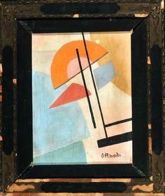 """Rozanova, Olga Vladimirovna, zugeschr., 1886 Malenki - 1918 Moskau 3300,00 Öl/Sperrholzplatte, 36,5 x 28,5 cm, """" Komposition mit orangenem Halbkreis """", u.r. bez. (kyrillisch) """"O. Rozanova"""","""