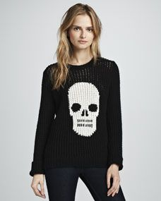Autumn Cashmere Hand-Knit Skull Crewneck Sweater