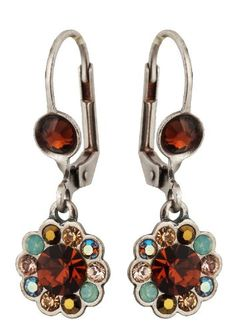 Michal Negrin Silver Coating Flower Earrings with Brown and Blue Swarovski Crystals - Hand-made in Israel, Very Feminine