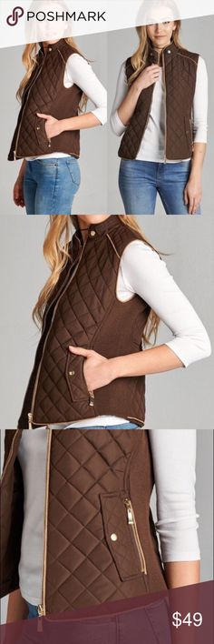Brown Quilted Vest Super comfy vest! An absolute MUST-HAVE & best seller for fall  Padded. True to size with plenty of stretch! S = 2/4. M = 6/8. L = 10/12. 100% Polyester. No. trades. Other colors available in my closet. Kyoot Klothing Jackets & Coats Vests