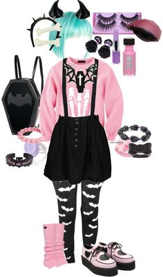 """""""Pastel Goth 2"""" by milkitten on Polyvore Awesome! I would swap the teal hair for black and wear baby pink horns to keep it two-tone."""