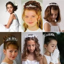 Picture of girls in first holy communion dresses and veil and hairstyles - via - twin possible com