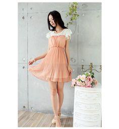 Orange  Short Sleeves Pleat Dress Korean Fashion Summer 2012