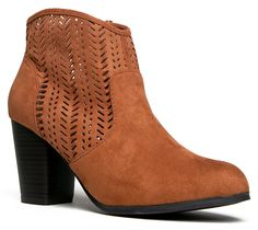 SAKE-31 Perforated Western Style Heeld Ankle Boot Bootie >>> Additional details at the pin image, click it  : Boots