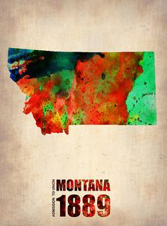 Montana Watercolor Map Mixed Media - Montana Watercolor Map Fine Art Print