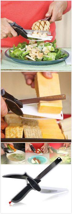 2 in 1 Cutting Board Scissors Food Cutter. #kitchen #gadgets #home