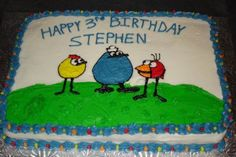 A 9x13 sheet cake with 1/2 chocolate and 1/2 white.  This was made for a little boys third birthday.  The characters of Peep and the Big Wide World are drawn free hand!  January, 2009.
