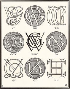 Monograms & Ciphers designed and drown by A. A. Turbayne and other members of the Carlton Studio | Graphicine