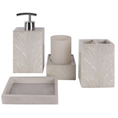 Amazon.com - Creative Scents Milano Bath Ensemble, 4 Piece Bathroom Accessories Set, Mother of Pearl Milano Collection Bath Set Features Soap Dispenser, Toothbrush Holder, Tumbler, Soap Dish - Natural Mosaic Capiz -