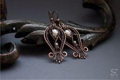 Купить Серьги Hilda - украшения, серьги, медь, медные серьги, проволока, жемчуг, скандинавия