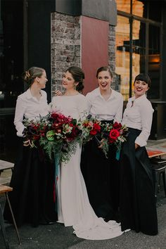 Looking for something dramatic for your bridesmaids' gowns? Try pairing crisp white collared shirts with bold, structured black skirts! Library Wedding, Wedding Book, Our Wedding, Wedding Ideas, Winter Bridesmaids, Wedding Cape, Bridesmaid Inspiration, Real Weddings, Winter Weddings