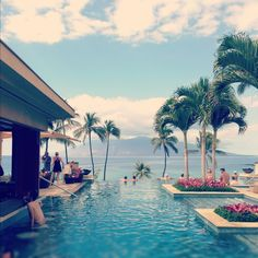 Infinity pool at the Four Seasons Maui. Music plays under the water and waiters walk around with frozen fruit, evian misting spray and cucumbers for your eyes. Also, you can get a poolside massage or mani/pedi. BEST PLACE EVER!!!!!!  Ughhh take me baaaaacckkkk