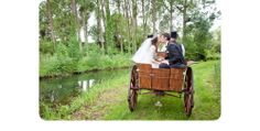 Rachel and James travelled by horse and cart back to their parents house at their oh so beautiful french wedding. We love the tall trees and abundant green. Swoon! ©RhapsodyRoadPhotography