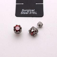 Surgical Steel 316L Earrings Red CZ Hypoallergenic Piercing Stud Men, Women     #Unbranded #Stud