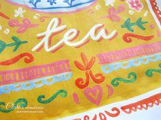 Time for tea! #illustration, #tea, #teatime, #teapot, #teacups, #mugs, #handlettering, #painting, #acrylics, #lettering, #design.