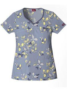 Dickies GenFlex Print 82771 Knitting Butterflies at NW Scrubs. Scrub Shoes, Womens Scrubs, V Neck Tops, Butterflies, Floral Tops, Unisex, Knitting, My Style, Nursing