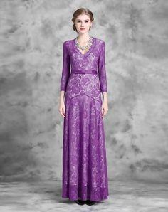Purple Lace Floral V-neck Evening Maxi Dress