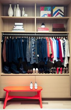 My closet is an extension of my uptight personality. I have a 'one-in-one-out' rule—that way I make sure I really want that tenth pair of menswear-like trousers. Of course I've had some remorse from over-purging. Also, I have storage space in my basement for overflow of Smythe. I always the keep the current season in my closet as well as my old faithfuls that I need close by.