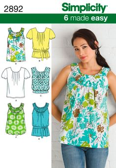 Simplicity 2892 Sewing Pattern Easy Misses' Summer Tops Diy Clothing, Sewing Clothes, Clothing Patterns, Dress Patterns, Shirt Patterns, Sewing Hacks, Sewing Tutorials, Sewing Crafts, Sewing Projects