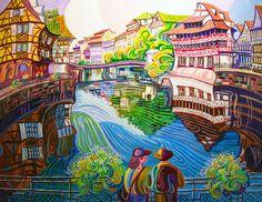 PETITE FRANCE (ESTRASBURGO). Oleo sobre lienzo. 100 x 81 x 3,5 cm.