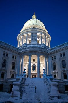 Capitol Glow, Winter in Wisconsin--largest state house in the country!
