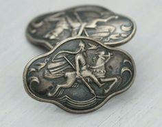 Gustav Gaudernack Very Rare Antique Vintage Norwegian Handmade Silver Cufflinks Enamel Jewelry, Rare Antique, Handmade Silver, My Ebay, Norway, Cufflinks, The Incredibles, Vase, Models