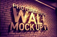 Photorealistic 3d Wall Mock Up #customfonts #presentationmockups #mockuptemplates #vectorelements #photoeffects