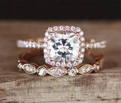 2pcs Moissanite Engagement Ring Set 6mm Cushion by DesignByAndre