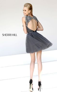 3934a56c6d Cute short and open back rhinestone and beaded prom dress in gunmetal grey.   Terry