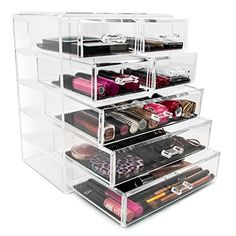 Sorbus® Acrylic Cosmetics Makeup and Jewelry Storage Case Display- 3 Large and 4 Small Drawers Space- Saving, Stylish Acrylic Bathroom Case