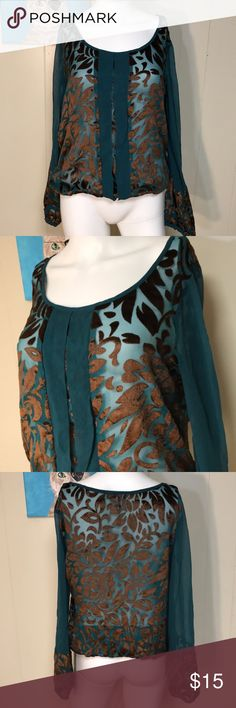 """Lucky Brand sheer & velvet blouse Totally sheer so best for layering! Deep blue green; brown """"velvet"""" design. Very beautiful & free of rips or stains. Chest across 19.5 inches. Bundling is fun; check out my other items & save!  Home is smoke free/ cat friendly. No price talk in comments. No trades or holds. Lucky Brand Tops Blouses"""