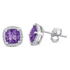 MSRP: $349.99   Our Price: 249.99   Savings: 100.00    Item Number: EB2232AAMD    Availability: Usually Ships in 5 Business Days    PRODUCT DESCRIPTION:    These elegant earrings for her feature an intense genuine Cushion cut Amethyst gemstones perfectly framed by halos of sparkling diamonds. These earrings are expertly crafted in fine sterling silver.    FEATURES:    Crafted in Fine Sterling Silver  (2) 6 x 6 mm Cushion Cut Amethyst Gemstones  Diamond Halo Design    PRODUCT SPECIFICATIONS…
