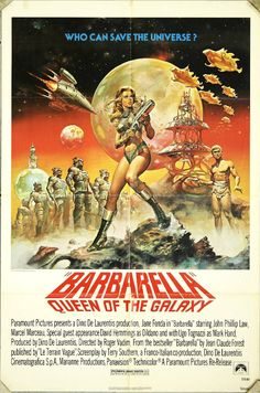 The 1968 classic sci-fi movie poster. In the year a highly sexual woman named Barbarella is assigned to find and stop the evil Doctor Durand-Durand in order to save the Earth. Starred by Jane Fonda, Barbarella is the ultimate sci-fi adventure hero Classic Sci Fi Movies, Classic Movie Posters, Movie Poster Art, A4 Poster, Poster Layout, Poster Ideas, Jane Fonda, Cinema Posters, Film Posters