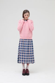 Beehive Knit Jumper Pink http://www.thewhitepepper.com/collections/knitwear/products/beehive-knit-jumper-pink Back Open Check Midi Dress http://www.thewhitepepper.com/collections/dresses/products/back-open-check-midi-dress