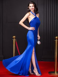 TS Couture Prom Formal Evening Dress - Celebrity Style Sheath / Column Halter Floor-length Chiffon Stretch Satin with Split Front Celebrity Red Carpet, Celebrity Dresses, Celebrity Style, Formal Prom, Formal Evening Dresses, Dresses For Sale, Dresses Online, Xmas Dresses, Royal Blue Evening Dress