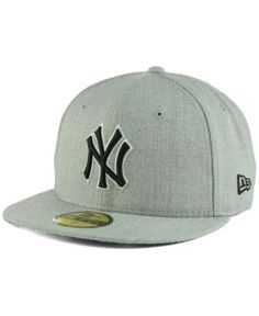 New Era New York Yankees Heather Black White 59FIFTY Fitted Cap - Gray 7 5/8