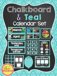 Calendar Set {Chalkboard and Teal}Decorate your classroom this year with this stylish Chalkboard and Teal Calendar Set. The following is included in this package:*Days of the Week Cards*Months of the Year Cards*Today is, Tomorrow will be, Yesterday Was and The Month Is cards*Calendar number cards 1-36 (in 2 sizes)*54 special event and holiday cards*Editable cards*Weather Clip Chart (in 2 variations)*Seasons Dial*Birthday Posters*Days In School ChartPlease note that only the number cards and…