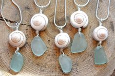 Beach jewelry Sea Foam Sea glass wire wrap with natural spiral shell pendant on a Sterling Silver plated snake chain Necklaces C4