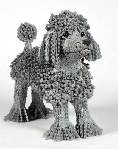 Poodle created from upcycled bike chains